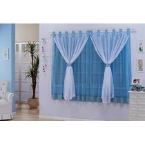 Cortina Manoella Tecido Voil Meninos 2,00x1,70 Azul E Branco