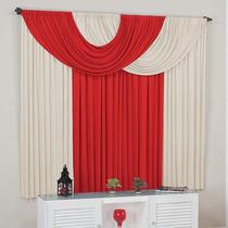 Cortina P/sala Suellen Branca Vermelha 4mx2.8m Varão Simples