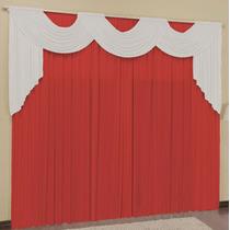Cortina Para Sala Vermelho Branco 3mx2,8m P/ Varão Duplo