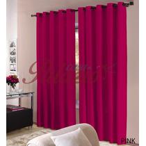 Cortina Roma 3,00x2,50 Com Ilhos P/ Sala Quarto - Rosa Pink