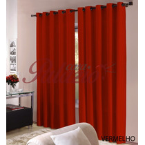Cortina Roma 3,00x2,50 Vermelho Com Ilhos P/ Sala Ou Quarto