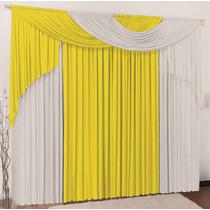 Cortina P/ Sala Amarelo Branco Em Malha 3mx2,8m Varão Duplo