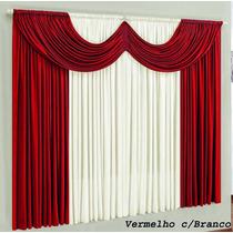 Cortina P/ Sala Paris Vermelho Branco 2mx1,7m Varão Simples