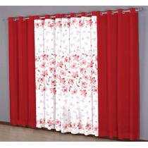 Cortina Nantes Realce Estampada 3,00x2,50 Vermelho E Branco