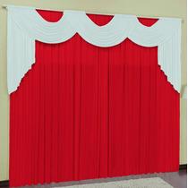 Cortina Para Sala Vermelho Branco 4mx2,8m P/ Varão Duplo