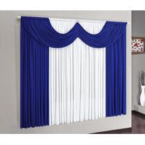 Cortina P/ Janela De Quarto Ou Sala 2,00x1,80 Azul C/ Branco