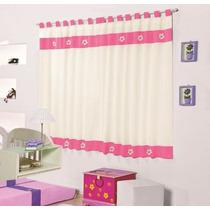 Cortina Infantil Margarida Palha E Pink P/ Quarto De Menina