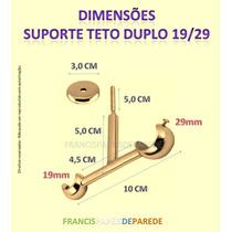 Suporte Dourado 19/29 Teto Metal Duplo Cortina Varão