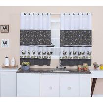 Cortina De Cozinha 2,00 X1,50 C/ Kit Varão Simples Galinha