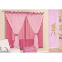 Cortina Juvenil Pink E Rosa Tecido Voil 3,00 X 2,80 Meninas