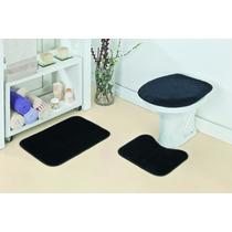 Jogo De Tapete Para Banheiro 3 Peças De Pelucia Cor Preto