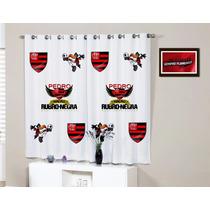 Cortina Quarto Flamengo Rubro Negra Personalizada Com Nome