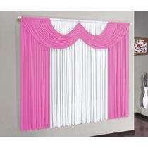 Cortina P/ Janela De Quarto Ou Sala 2,00x1,80 Rosa C/ Branco
