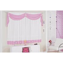 Cortina Margarida 2,00mx1,70m P/quarto Infatil Rosa E Branco