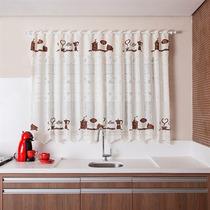 Cortina Para Cozinha 220x150 Cm E Bandô 30cm Renda Café