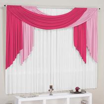 Cortina Para Sala Isabella Pink Rosa Branca 3,00m X 2,80m