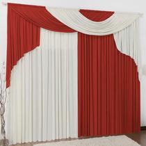 Cortina Para Sala Elegance Palha Vermelho 3,0m X 2,8m