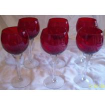 Antigas Taças De Vinho Em Cristal Rubi E Pes Incolor