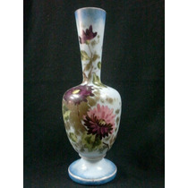 Antigo Vaso Em Opalina Francesa Pintado A Mão ( Oferta )