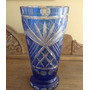 Vaso Azul Cristal Bohemia Anos 50 -25cm Alt 13cm Diam