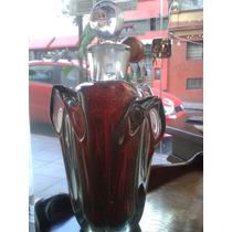 Garrafa Cristal Murano Vermelha Com Pó De Ouro