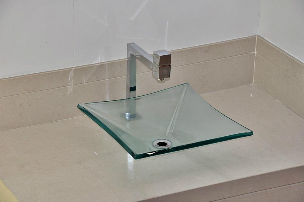 Cuba De Vidro Bergan Quadrada Incolor  Linha Sulle  R$ 174,90 no MercadoLivre -> Cuba De Vidro Para Banheiro Mercadolivre