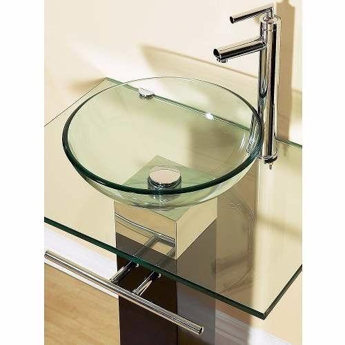 Cuba De Vidro Incolor Para Banheiro  Redonda  42cm  R$ 119,90 no MercadoLivre -> Cuba De Vidro Para Banheiro Mercadolivre