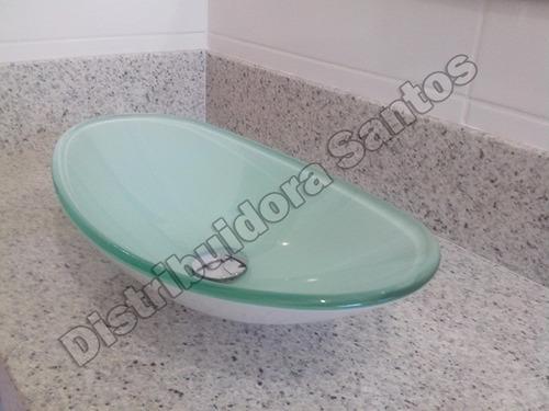 Cuba De Vidro Oval Para Banheiro, Bancada, Pia  48x32x13  R$ 209,90 no Merc -> Cuba Para Banheiro De Vidro Oval