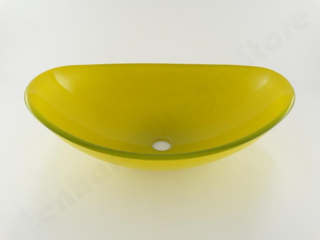 Cuba De Vidro Oval Para Banheiro E Lavabo Amarelo  R$ 219,90 no MercadoLivre # Cuba Para Banheiro De Vidro Oval