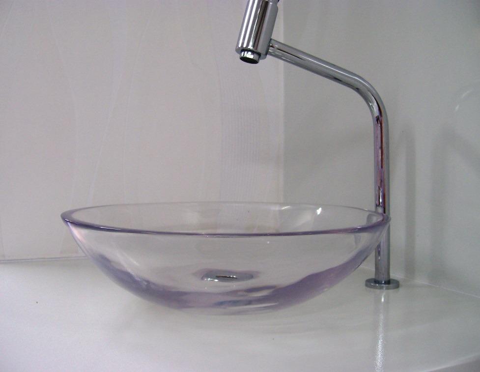 Cubapia De Apoio Para Banheiro 36cm Incolor Transparente  R$ 159,00 no Merc -> Cuba Para Pia De Banheiro De Apoio