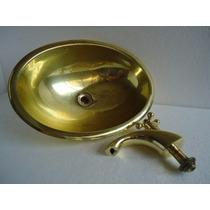 Conjunto Cuba Oval,torneira,ralo Latão/metal Dourado Antigo.