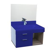 Lavatório Stetiun 70x70 Cm - Vidro Esmaltado Azul Escuro