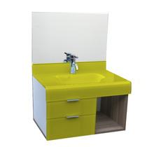 Lavatório De Vidro Esmaltado Stetiun 80x80 Cm - Amarelo
