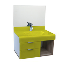 Lavatório De Vidro Esmaltado Stetiun 70x70 Cm - Amarelo