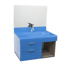 Lavatório De Vidro Esmaltado Stetiun 60x60 Cm - Azul Claro