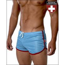 Cueca Boxer Andrew Christian Mesh Shorts Azul Claro Sunga