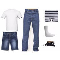 Calça Jeans + Bermuda + Camisa + Cueca Box + Cinto +par Meia