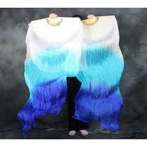 Fan Véu,veu Leque Degrade Branco Com Azul,dança Do Ventre