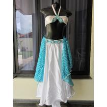 Figurino De Dança Do Ventre Infantil Branco E Azul - Usado!