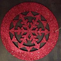 Guirlanda Mandala De Natal Com Glitter Vermelha