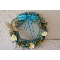 Guirlanda De Natal Azul E Dourada Com Borboletas E Flores