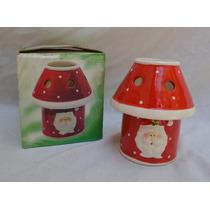 Porta Velas Cerâmica Natal Em Forma De Abajur Com Papai Noel