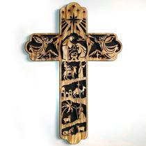 Enfeite Cruz De Porta Guirlanda Natal Quadro Presépio