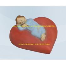 Escultura Menino Jesus Dormindo No Coração 15cm
