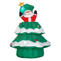 Inflável Para Decoração De Natal Papai Noel Dentro Da Árvore