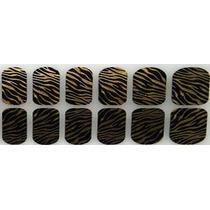 Adesivo De Unha (ref: 038) Pelicula Tigre Doourado Preto