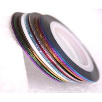 10 Fitas Coloridas Autoadesivas Metálicas Decoração Unhas