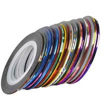 Kit 10 Rolos De Fita Adesiva Metalizada Para Unha + Brinde