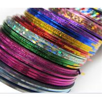 5 Rolos De Fita Metalizada Adesiva Para Unhas -