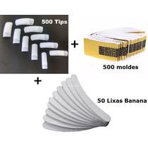 50 Lixas Banana + 500 Unhas Tips + 500 Moldes Adesivo Gel Uv